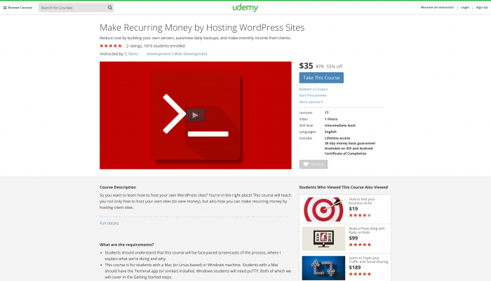 Make Recurring Money by Hosting WordPress Sites on Udemy